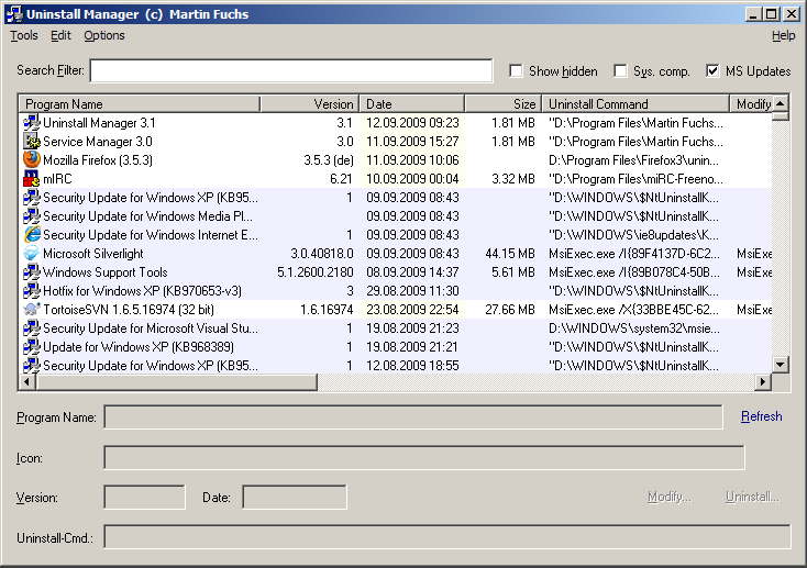 Screenshot of Uninstall Manager